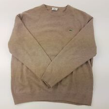 Lacoste Mens  Pullover 2XL  Beige Pure New Wool Crew Neck