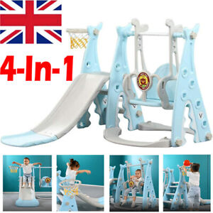4 in 1 Toddler Climber Slide Play Swing Set Indoor/Outdoor Kids Playground Blue