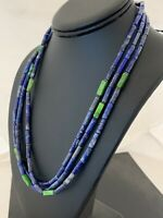 """Mens Native Navajo Pearls Lapis  Green Turquoise 3S Sterling  21"""" Necklace 620"""