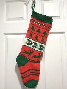 Hand Knit Red Green White Christmas Stocking Reindeer Holly Tree