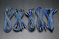 5 PCS 6 FT RCA WIRE BLUE GRAY 2 CHANNEL CAR HOME AUDIO INTERCONNECT STEREO BLS-6