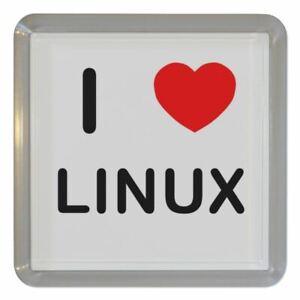 I Love Heart Linux - Clear Plastic Tea Coaster / Beer Mat BadgeBeast