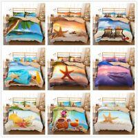 3D Sunset Ocean Beach Bedding Set Duvet Cover Pillowcase Quilt/Comforter Cover