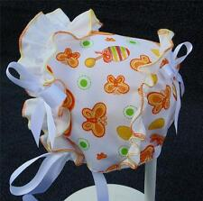 Orange Butterfly Print with White Ruffle & Satin Ribbon Bows Baby Summer Bonnet