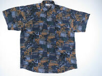 80s 90s Abstract All Over Print Silk Button Up Short Sleeve Shirt Vintage Art L