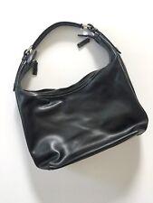 VIA BORGOSPESSO Milano Italy Women's Hobo Handbag Leather Striped Side-Black