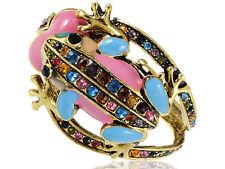 Gold Pastel Enamel Crystal Rhinestone Pink Love Frog Bracelet Bangle Cuff Gift