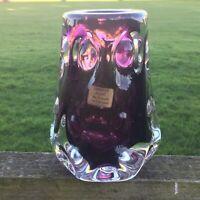 Vintage Liskeard Glass Purple Knobbly Vase Jim Dyer Art Glass Original Label 70s