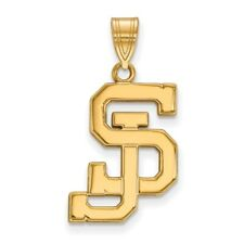 San Jose State University Spartans School Letters Logo Pendant in Yellow Gold