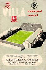 Aston Villa v Arsenal programme, Division 1, October 1950
