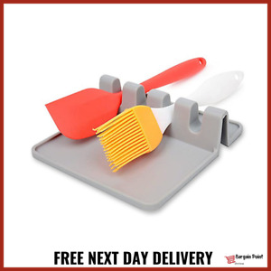 Kitchen Heat Resistant Silicone Spoon Rest Cooking Utensil Holder Tools Grey