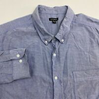George Button Up Shirt Men's 3XLT XXXLT Long Sleeve Blue Chambray 100% Cotton