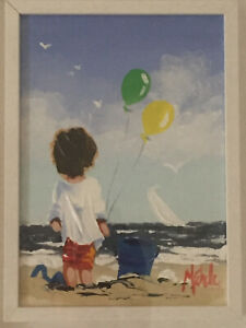 "Michelle Carlin ""Young Boy With Bucket And Spade"" Framed Original Irish Art"