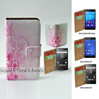 For Sony Xperia Series - Pink Floral Theme Print Wallet Mobile Phone Case Cover