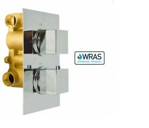 2/3 way outlet & Square Concealed Thermostatic Shower Mixer Valve Chrome Brass