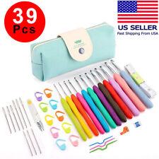 39pcs Crochet Hooks Kit Yarn Knitting Needles Sewing Tool Ergonomic Grip Bag Set