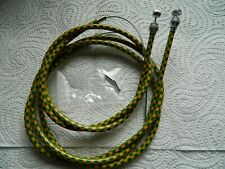 YELLOW GREEN CHECK OLD SCOOL BMX BRAKE CABLE SET TO FIT RALEIGH BURNER