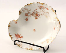 Haviland Fluted Bowl Limoges Pink Floral With Gold 10 by 8 Inches