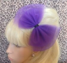 BIG BOW PURPLE TULLE TUTU NET ALICE HAIR HEAD BAND 80s RETRO PARTY FANCY DRESS