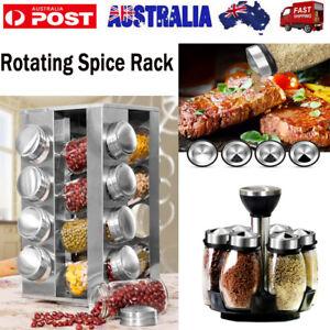 6/16 Jar Rotating Kitchen Spice Rack Bottle Storage Holder Condiments Container