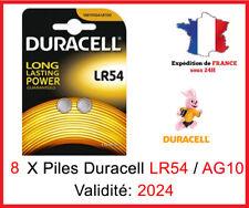 8 Piles LR-54 / AG10  DURACELL Bouton Alcaline 1,5V DLC 2024