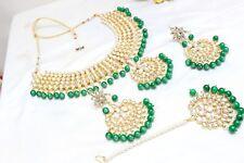Indian Bollywood Green Padmavati Necklace Earrings Set Partywear Wedding Jewelry