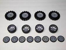 "KNEX Wheels Mix 3.5"" 2.5"" 1.75"" Tires w/Gray Pulleys Hubs Rims Parts/Pieces Lot"
