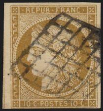 n°1, Cérès 1850, 10c bistre-jaune, oblitéré grille noire - B/TB