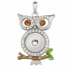5pcs/Lot  OWL Rhinestone Snap Pendant Jewelry  For 18MM Snaps Button Charm