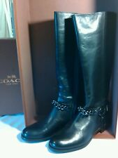 Coach Mabel Calf Black Leather Riding Boots, Women's Sz. 6 New in box, Free Ship