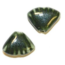 CPC272 Dark Green 23x17mm Puff Corrugated Shell Sparkle Glaze Porcelain Bead 10p