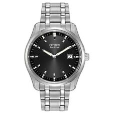 NEW Men's Citizen Eco-Drive Classic Stainless Steel Black Dial Watch AU1040-59E