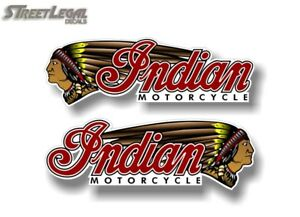 """Pair of 3"""" x 9.5"""" INDIAN MOTORCYCLE Gas Tank Vinyl Decals Saddle Bag Stickers"""