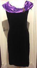 Vintage 100% Velvet Black dress with Purple Trim & Silver Button Detailing UK 12