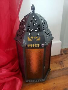 Large Metal Multicolored Glass Moroccan Candle Lantern 2FT
