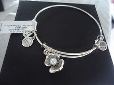Authentic Alex and Ani OYSTER Russian Silver Charm Bangle New W/ Tag Card & Box