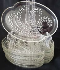SET of 8 Snack Plate Homestead Federal Glass Clear Vintage Luncheon Wheat Oval
