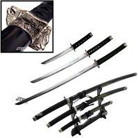 "3pc SET 40"" DRAGON Black KATANA Swords Carbon Steel w/ Stand Collectible SAMURAI"