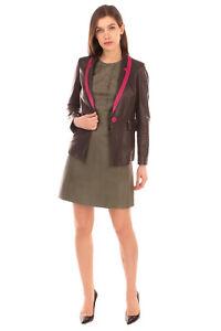 RRP €255 EMPORIO ARMANI Leather Blazer Jacket Size 40 / S Crumpled Two Tone