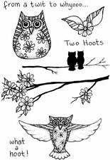 Two Too Hoots owls 5 clear craft stamps Lindsay Mason hoot owl stamp stamping