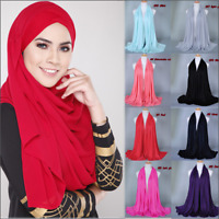 Women Muslim Long Cotton Shade Hijab Shawl Scarf Scarves Soft Wrap Arab Headwear