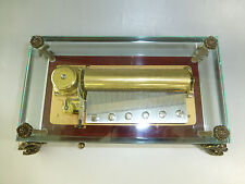 """VINTAGE REUGE 72 MUSIC BOX, CRYSTAL CLEAR GLASS """" LARA'S THEME """"  (WATCH VIDEO)"""