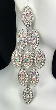 """Gorgeous! 4"""" Long AB Crystal Drop Earrings Drag Queen, Prom, Pageant, Bridal"""