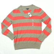 NEW Gap Crossover Vee Sweater Womens Large L Orange Stripe Vneck Knit Rib Collar