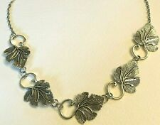 BEAUTIFUL DARK SILVER PLATED LEAF NECKLACE (EARRINGS AVAILABLE) LEAVES STATEMENT