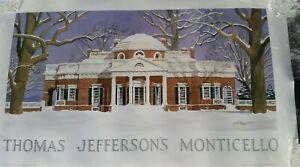 Thomas Jefferson Monticello Charlottesville Watercolor Poster Ruseau IMMACULATE