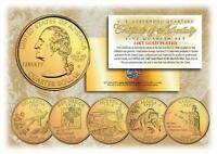 2008 GOLD U.S. Mint State Quarters * Complete Set of 5 Coins * with Capsules