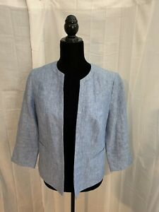 Talbots Womens Size 4 Blue No Button Lined Linen Blazer Career Jacket