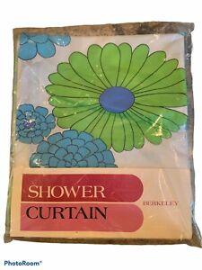 Vintage NOS Berkeley Standard Shower Curtain 1970s Groovy Floral Aloha Pattern