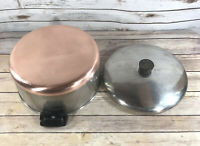 Vintage Revere Ware 6 QT Stock Pot Copper Clad 1801 Stainless Steel W/ Lid EUC